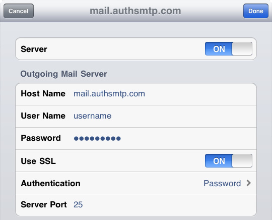 iPad - Step 11 - Change SMTP port from 587 to 25
