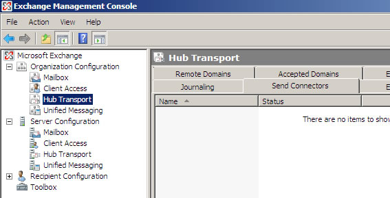 Exchange 2007 Setup - Step 1 - Click on Organisation Hub Transport and then the Send Connectors tab