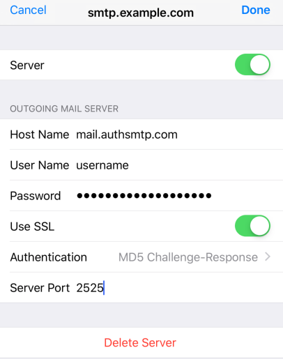 iPad iOS12 - Step 9 - Go back to the main Settings page and the setup of the authenticated outgoing email relay service is complete