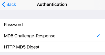 iPhone / iPod Touch iOS13 - Step 8 - Set Authentication Type
