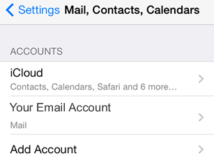 iPad iOS7 - Step 3 - Click email account you wish to add AuthSMTP outgoing email service to
