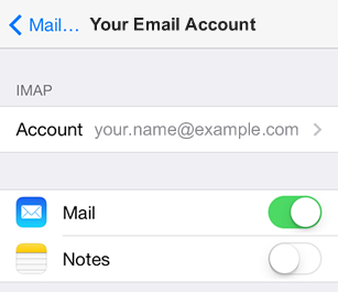 iPhone / iPod Touch iOS7 - Step 4 - Click Account