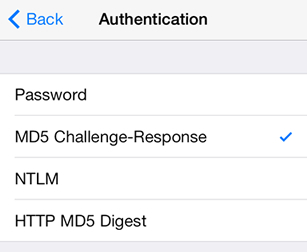 iPad iOS8 - Step 7 - Select MD5 Challenge-Response as the AuthSMTP Authentication method
