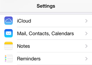 iPhone / iPod Touch iOS9 - Step 2 - Click 'Mail, Contacts, Calendars'