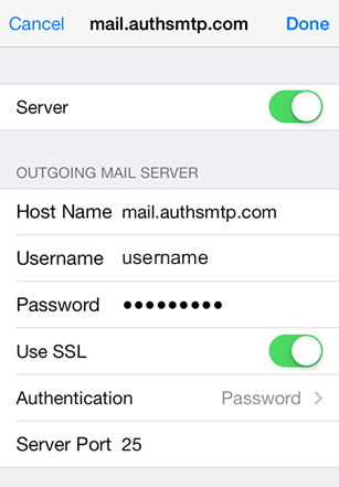 iPhone / iPod Touch iOS9 - Step 6 - Move slider to On, enter AuthSMTP outgoing mail server, enter AuthSMTP username and password, change Use SSL to Off and then click on Authentication