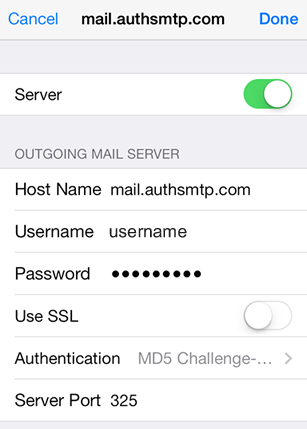 iPhone / iPod Touch iOS9 - Step 8 - Click on Server Port and change to the alternative SMTP port 2525, go back to the main Settings page and the setup of the authenticated outgoing email relay service is complete