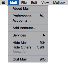 El Capitan 10.11 - Mac Mail - Step 2 - Open Mail menu and click Preferences