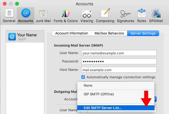 High Sierra 10.13 - Mac Mail - Step 4 - Enter Outgoing Mailserver