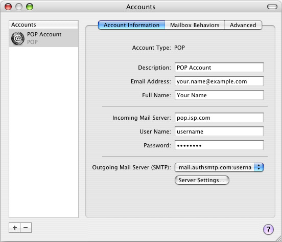Mac Mail - Step 6 - Close window to complete setup of AuthSMTP outgoing mail relay service