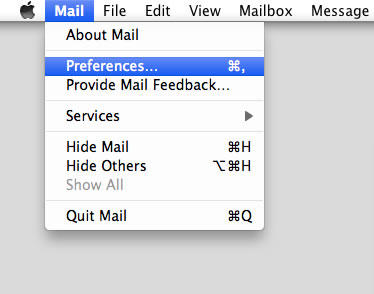 Mountain Lion 10.8 - Mac Mail - Step 2 - Open Mail menu and click Preferences