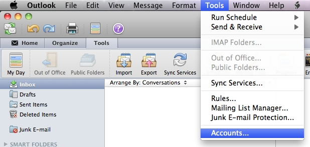 Outlook 2011 for Apple Mac OS X - Step 1 - Go to the tools tab