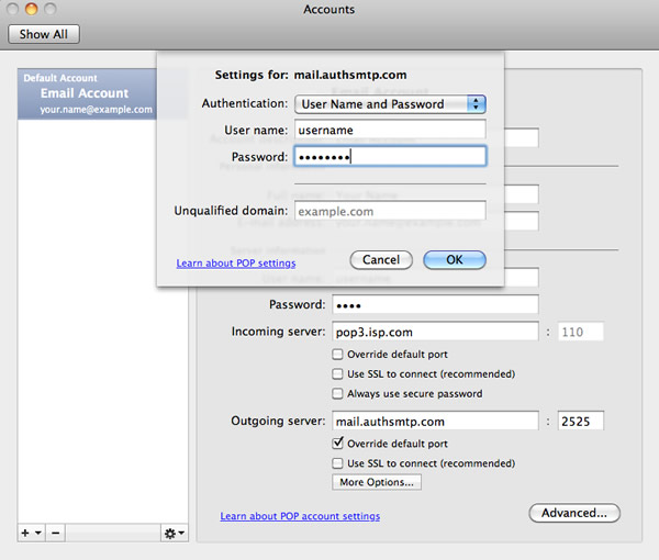 Outlook 2011 for Apple Mac OS X - Step 4 - Enter username and password