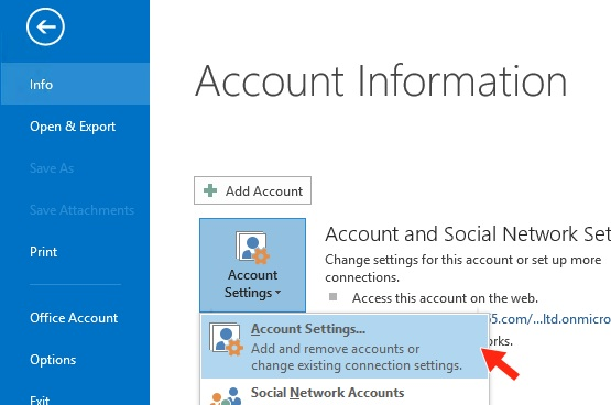 Outlook 2013 - Step 3 - Click Account settings