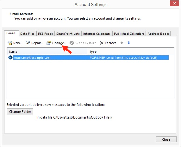 Outlook 2013 - Step 4 - Click the Change button
