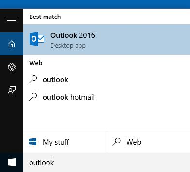 Outlook 2016 - Step 1 - Open Outlook 2016 - Click on icon