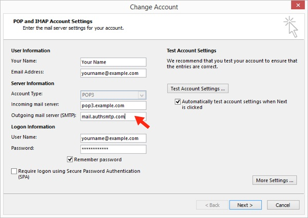 Outlook 2016 - Step 5 - Change outgoing mail server to AuthSMTP's and then click More Settings