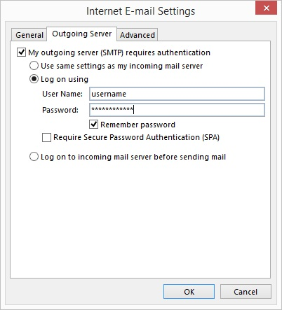 Outlook 2016 - Step 6 - Go to the Outgoing Server tab, tick outgoing server requires authentication and enter your AuthSMTP username and password