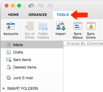 Outlook for Mac v15 - Step 3 - Tools Tab