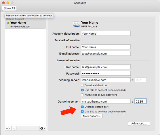Outlook for Mac v15 - Step 5 - Accounts Window
