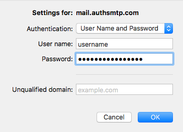 Outlook for Mac v15 - Step 7 - Outgoing SMTP Server Username and Password