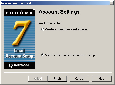 Eudora v7 - Step 3 - Skip directly to advanced account setup