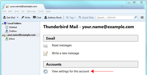 Thunderbird v17 - Step 1 - Go the Tools menu and click Accounts Settings