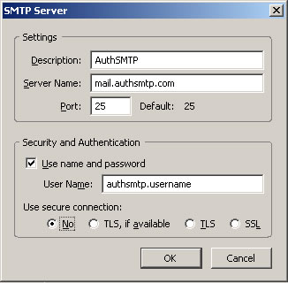 Thunderbird v2.0 - Step 3 - Enter AuthSMTP as Description, enter AuthSMTP's outgoing mail server, tick use and then enter your AuthSMTP username, use secure connection should be set to No and then click OK