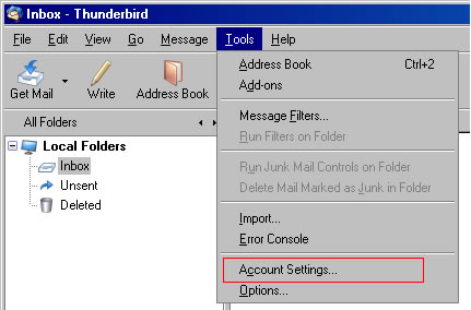 Thunderbird v3.0 - Step 1 - Go the Tools menu and click Accounts Settings