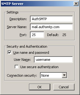 Thunderbird v3.0 - Step 3 - Enter AuthSMTP as Description, enter AuthSMTP's outgoing mail server, tick use and then enter your AuthSMTP username, use secure connection should be set to No and then click OK