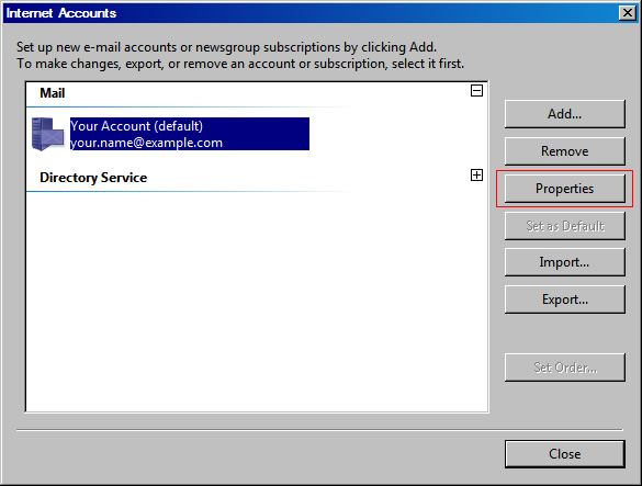 Vista Mail v6 - Step 3 - Click account you wish to setup AuthSMTP on and click Properties