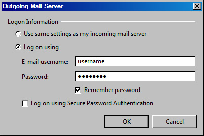 Vista Mail v6 - Step 5 - Enter your AuthSMTP username and password and click OK to complete the AuthSMTP mail relay setup
