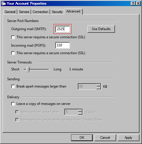 Vista Mail v6 - Step 6 - Go to the Advanced tab and change the SMTP port to the alternative port 2525, click OK to complete the mail relay setup