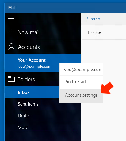 Windows 10 Mail App - Step 3 - Open Account Settings
