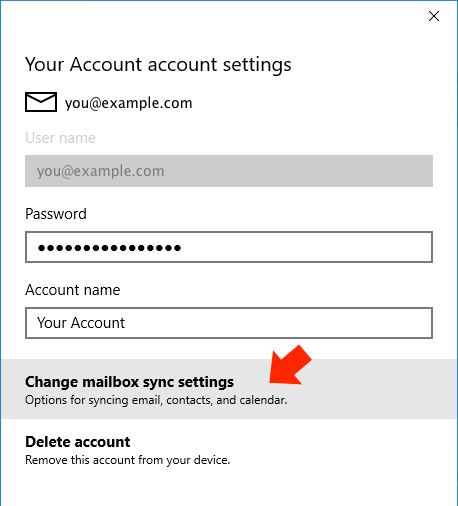 Windows 10 Mail App - Step 4 - Click 'Change mailbox sync settings'