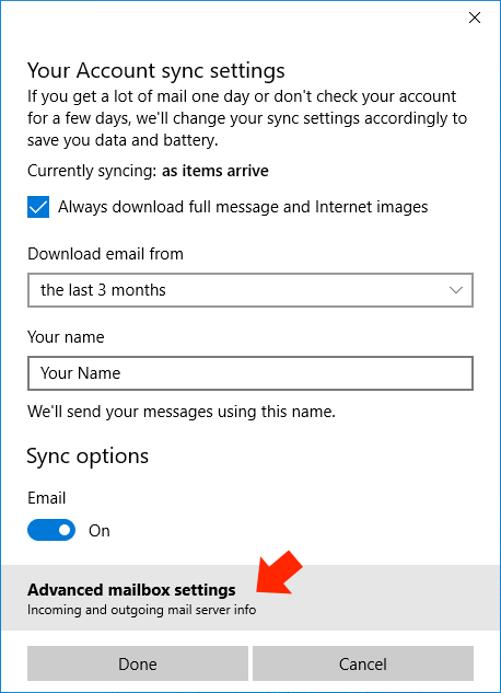 Windows 10 Mail App - Step 5 - Click 'Advanced mailbox settings'