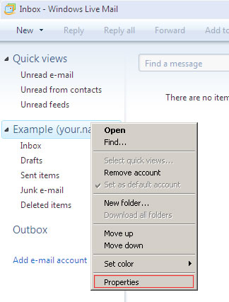 Windows Live Mail 2009 - Step 1 - Right click on your account in left hand column and select Properties