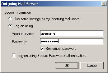 Windows Live Mail 2009 - Step 3 - Enter your AuthSMTP username and password, tick remember password and then click OK to complete the setup of the authenticated mail relay service